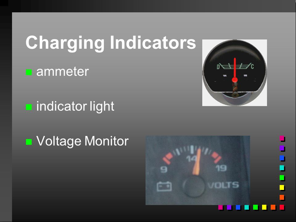 Charging Indicators ammeter indicator light Voltage Monitor