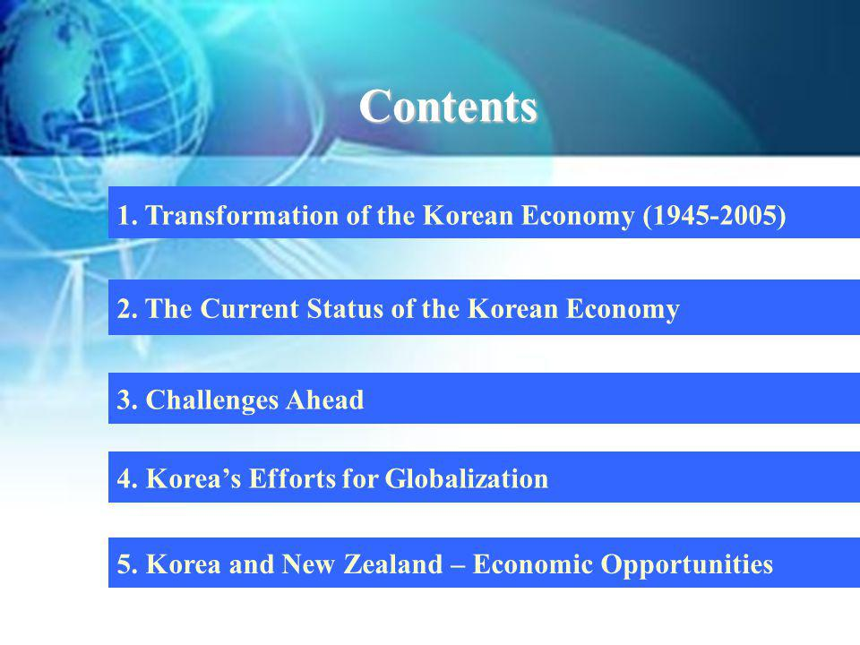 Contents 1. Transformation of the Korean Economy (1945-2005)