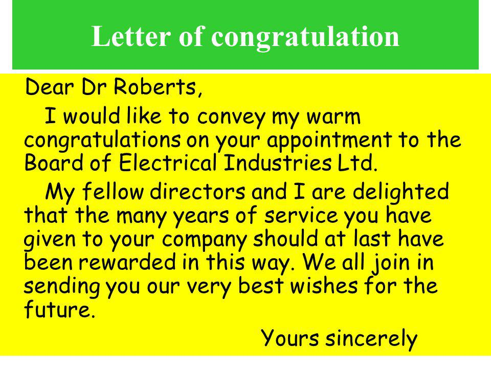Letter of congratulation