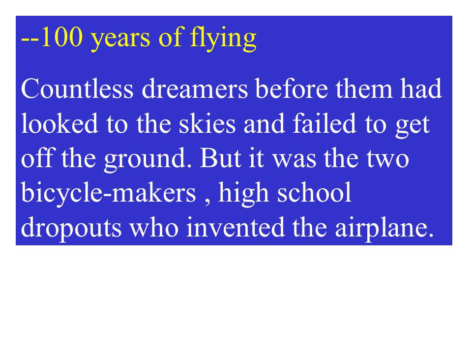 --100 years of flying