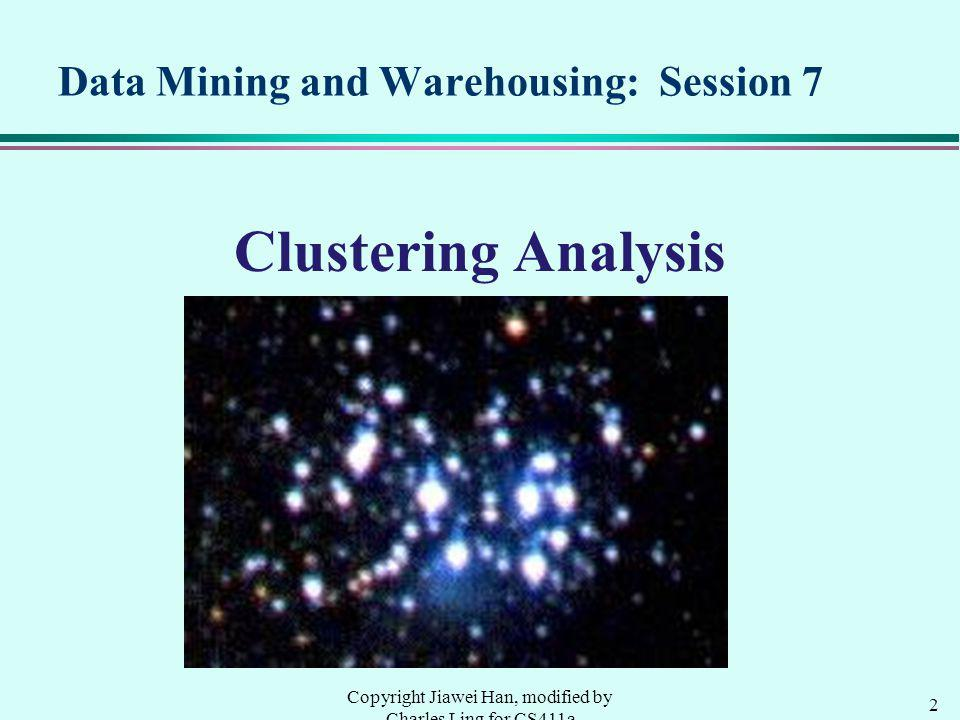 Data Mining and Warehousing: Session 7