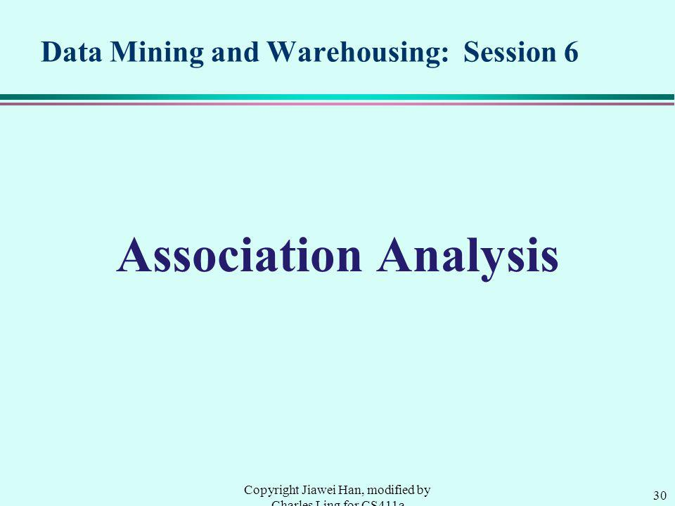 Data Mining and Warehousing: Session 6