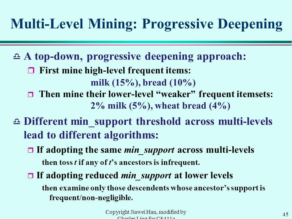 Multi-Level Mining: Progressive Deepening