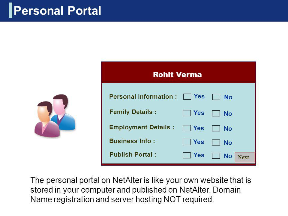 Personal Portal Rohit Verma. Personal Information : Yes. No. Family Details : Yes. No. Employment Details :