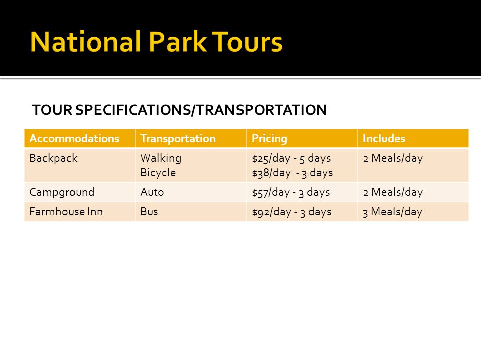National Park Tours Tour Specifications/Transportation Accommodations