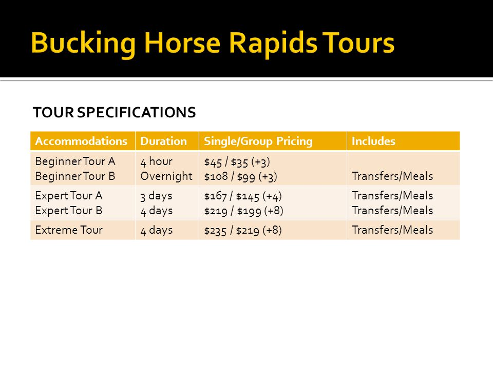 Bucking Horse Rapids Tours