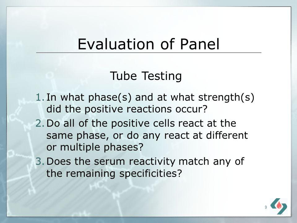 Evaluation of Panel Tube Testing