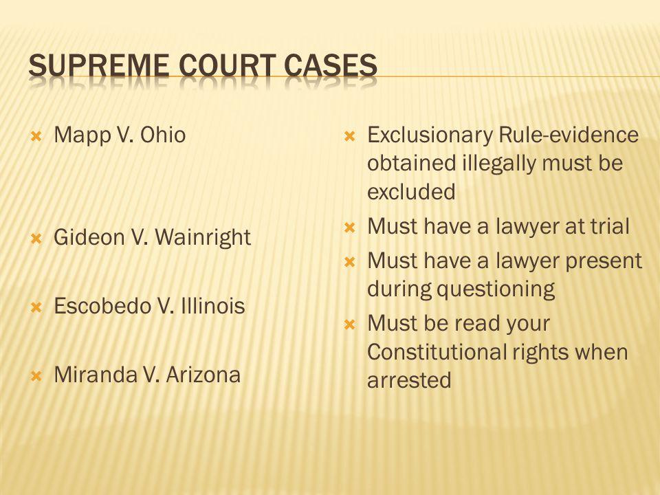 Supreme Court Cases Mapp V. Ohio Gideon V. Wainright