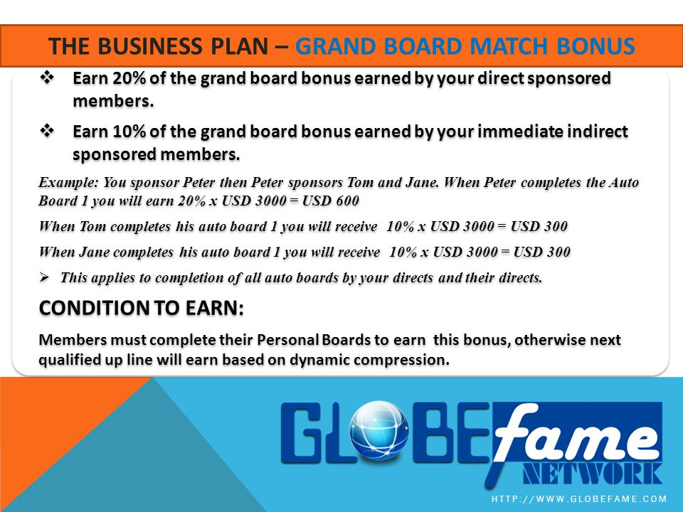 The business plan – grand board match bonus