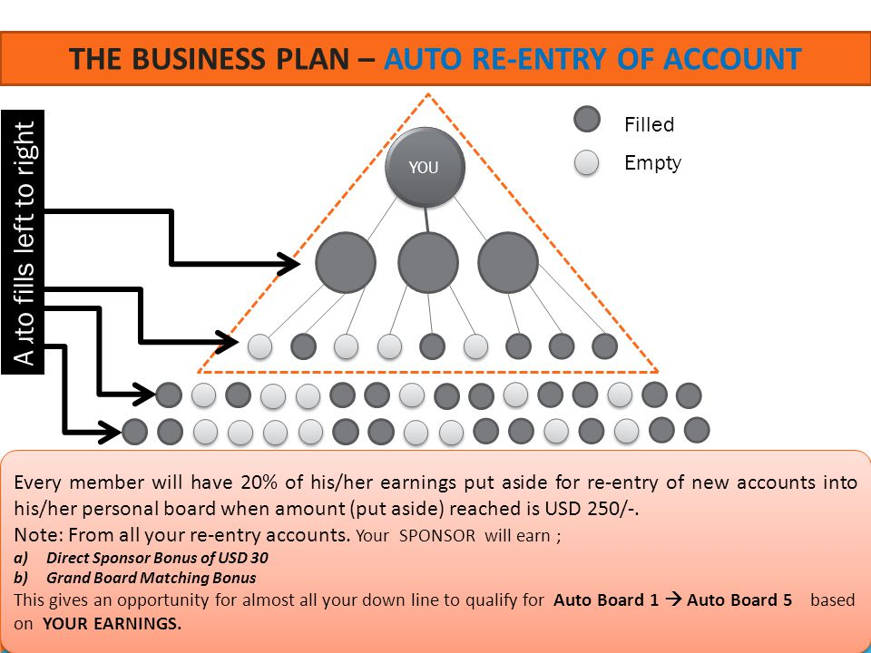 The business plan – AUTO RE-ENTRY OF ACCOUNT