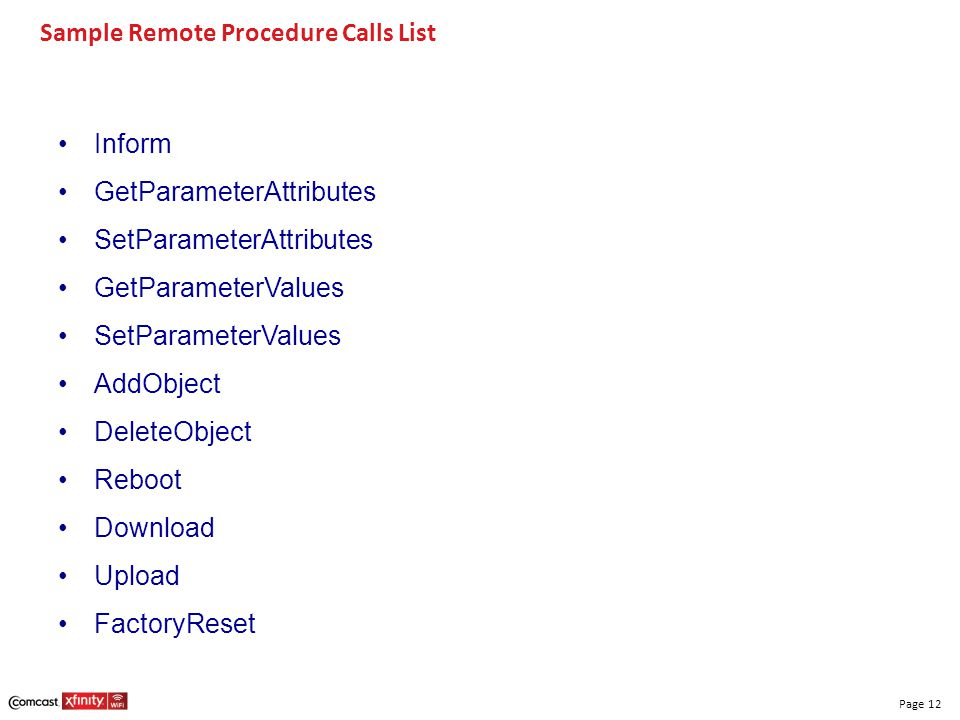 Sample Remote Procedure Calls List