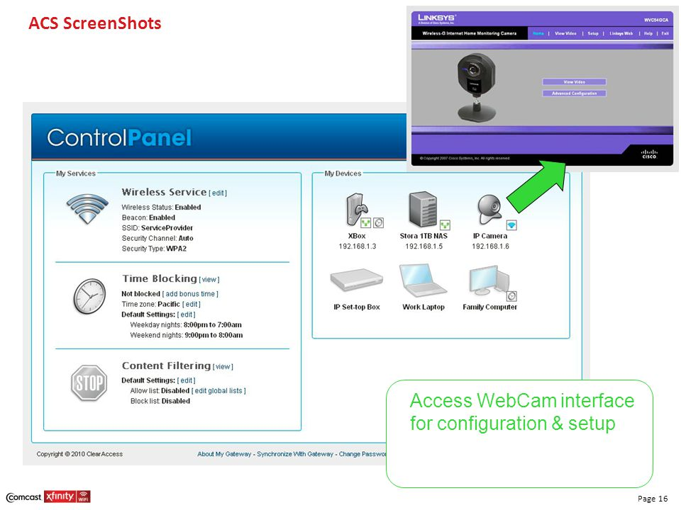 ACS ScreenShots Access WebCam interface for configuration & setup