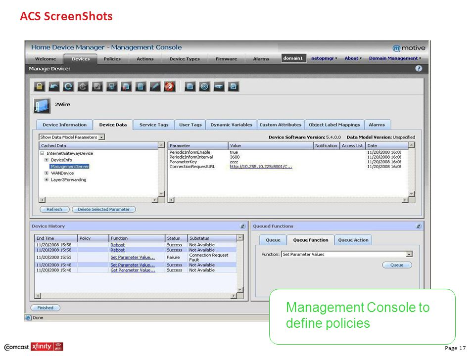 ACS ScreenShots Management Console to define policies