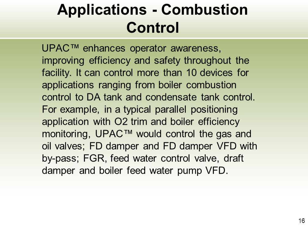 Applications - Combustion Control
