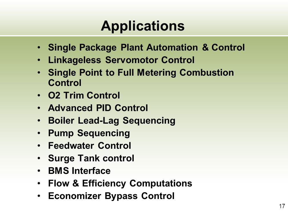 Applications Single Package Plant Automation & Control