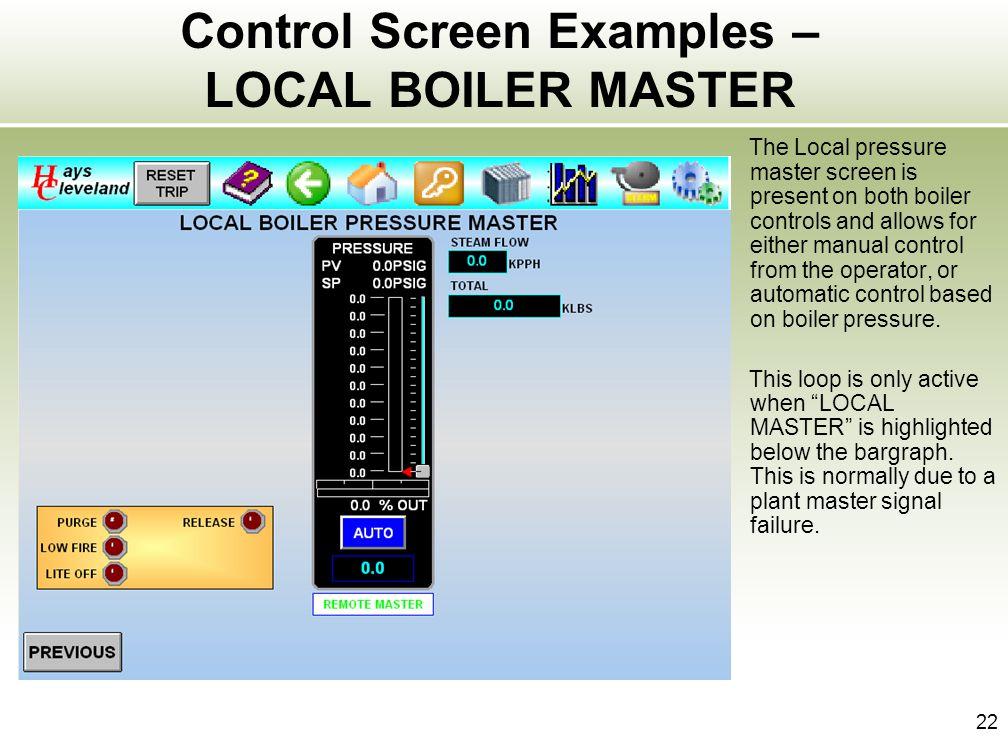 Control Screen Examples – LOCAL BOILER MASTER