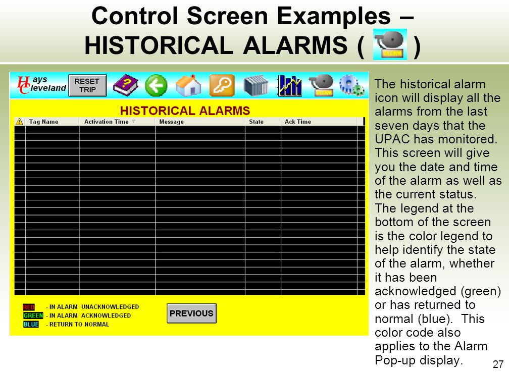 Control Screen Examples – HISTORICAL ALARMS ( )