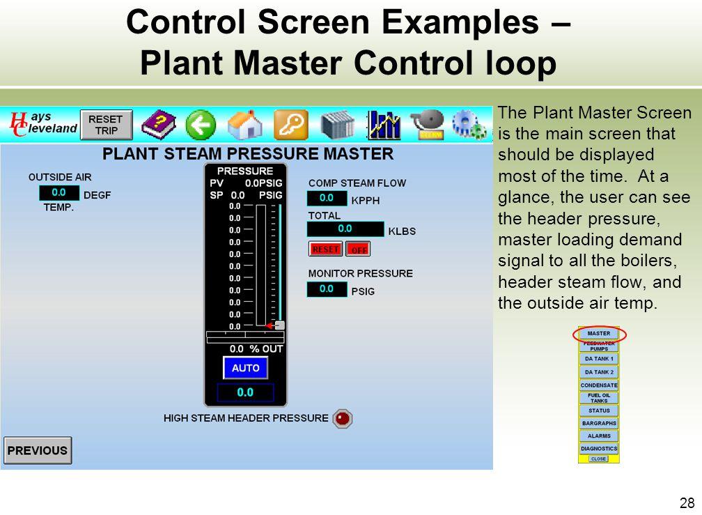 Control Screen Examples – Plant Master Control loop