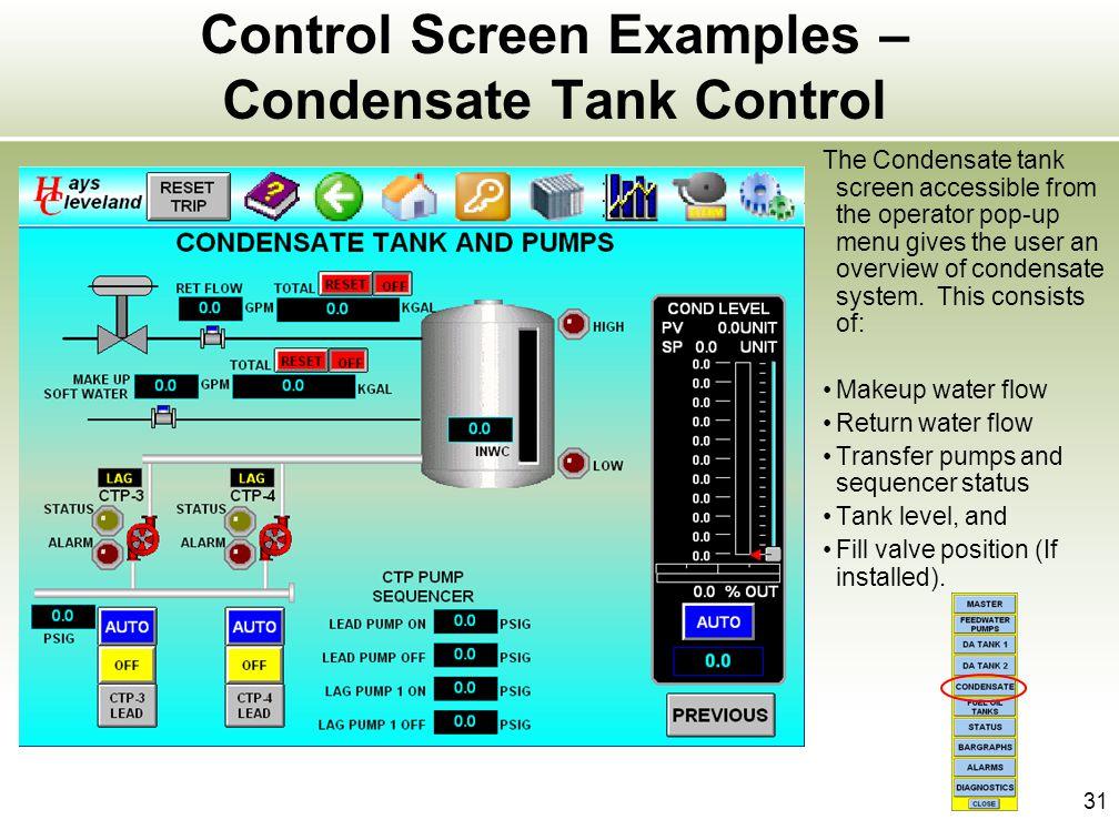 Control Screen Examples – Condensate Tank Control