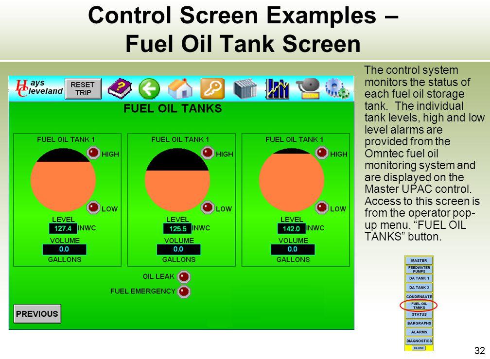 Control Screen Examples – Fuel Oil Tank Screen