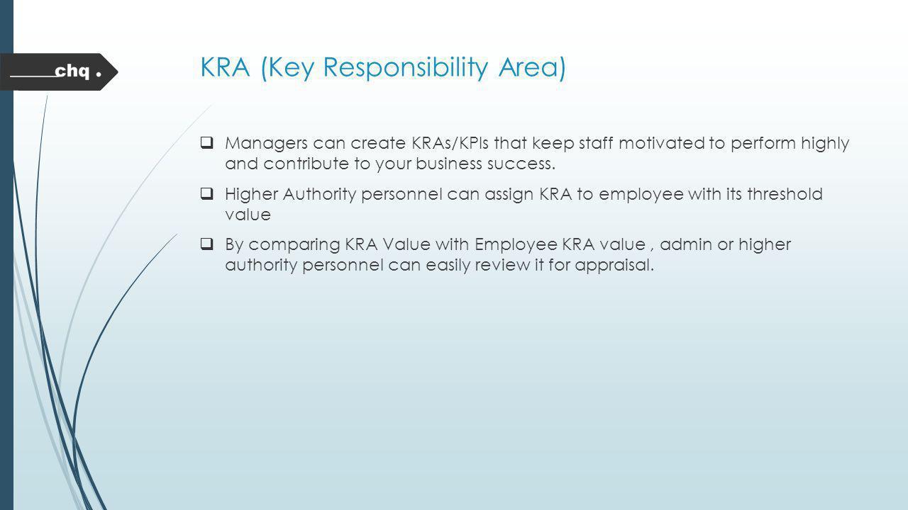 KRA (Key Responsibility Area)