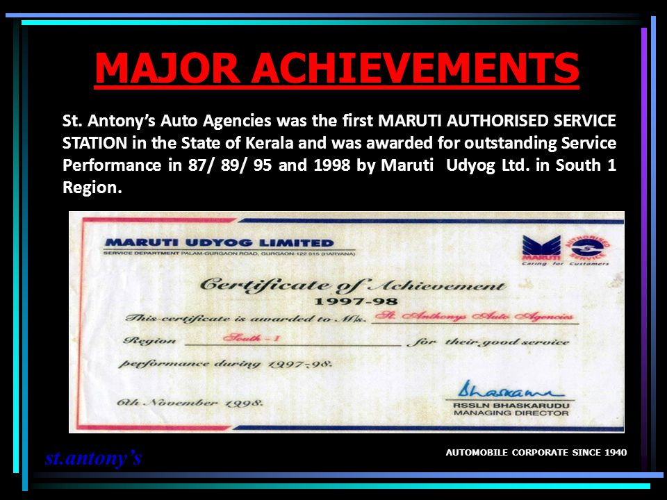 MAJOR ACHIEVEMENTS st.antony's