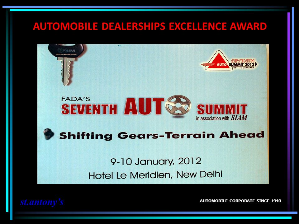 AUTOMOBILE DEALERSHIPS EXCELLENCE AWARD