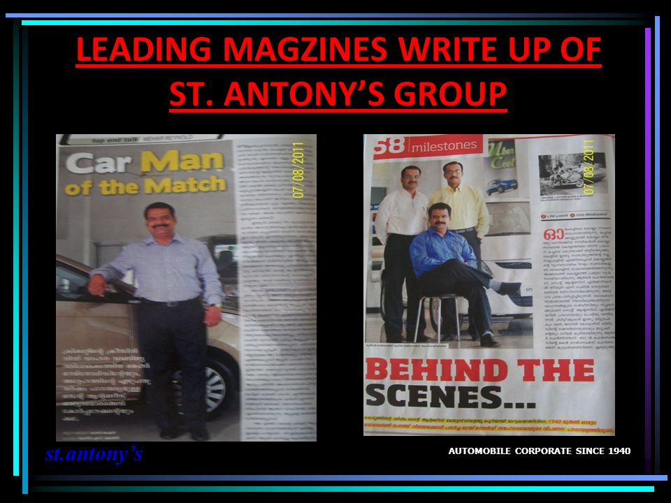 LEADING MAGZINES WRITE UP OF ST. ANTONY'S GROUP