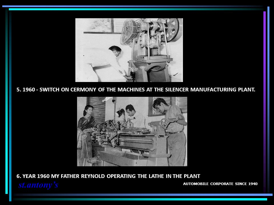 5. 1960 - SWITCH ON CERMONY OF THE MACHINES AT THE SILENCER MANUFACTURING PLANT.