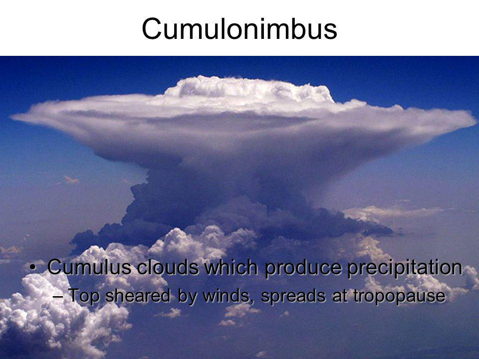Cumulonimbus Cumulus clouds which produce precipitation