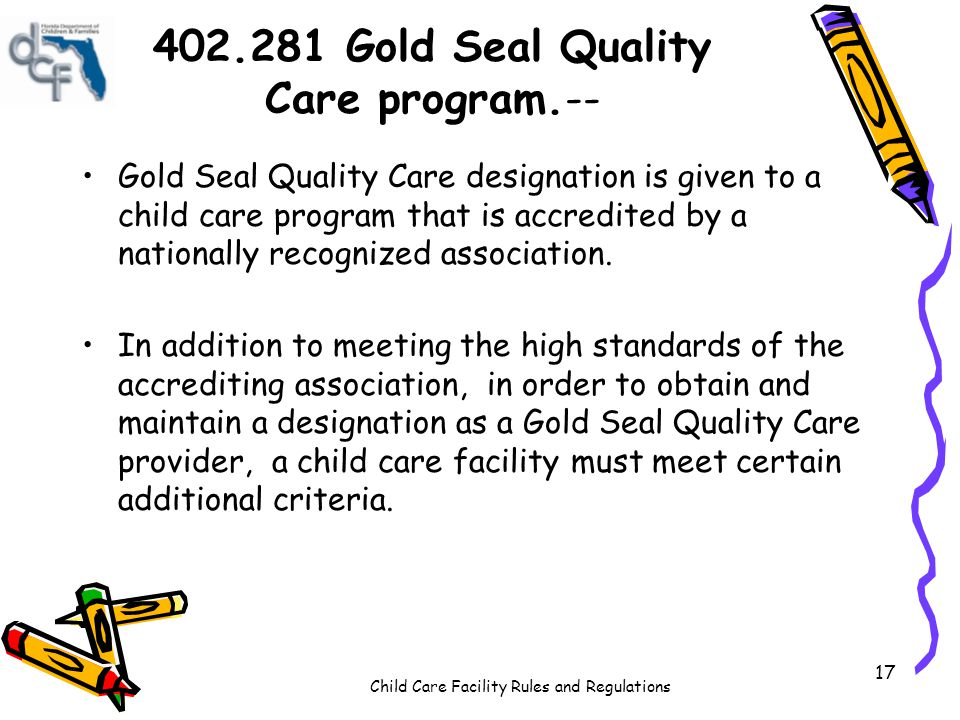 402.281 Gold Seal Quality Care program.--