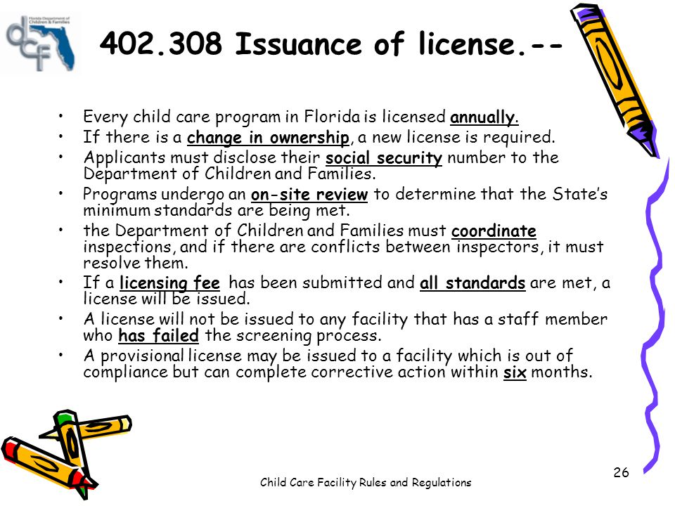 402.308 Issuance of license.-- Every child care program in Florida is licensed annually.