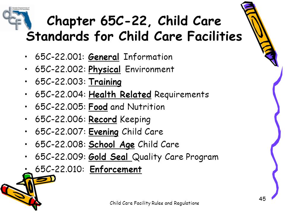 Chapter 65C-22, Child Care Standards for Child Care Facilities