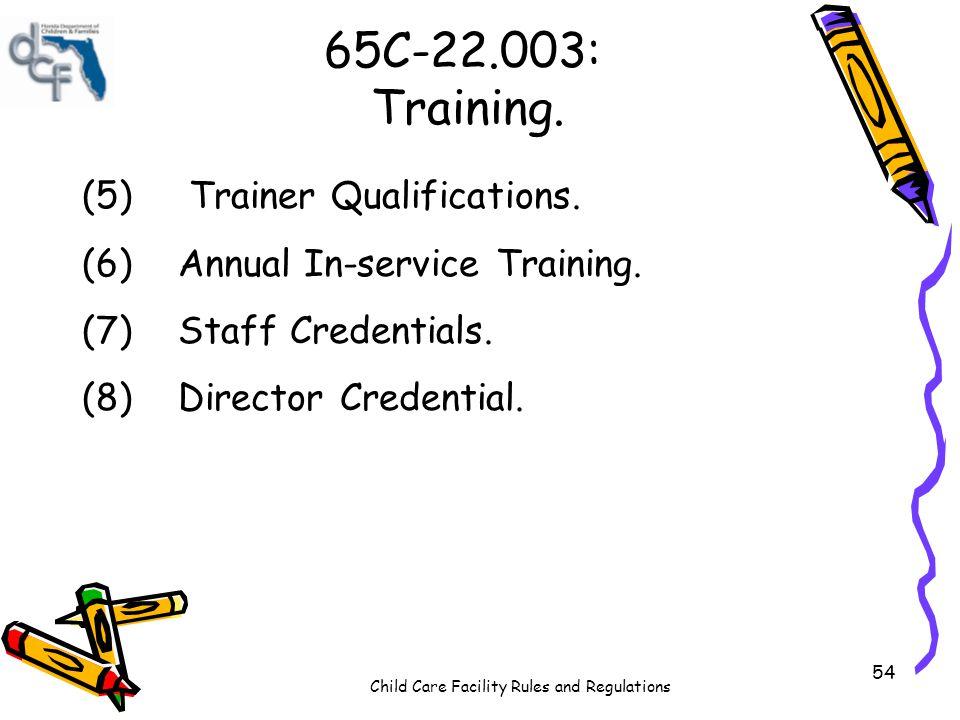 65C-22.003: Training. (5) Trainer Qualifications.