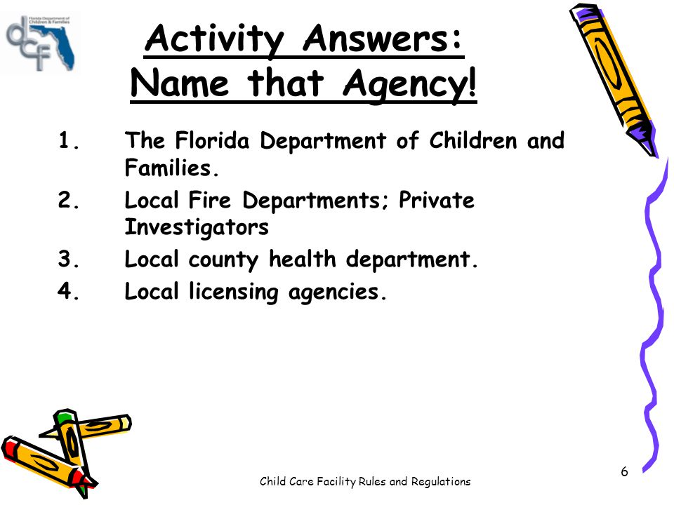 Activity Answers: Name that Agency!