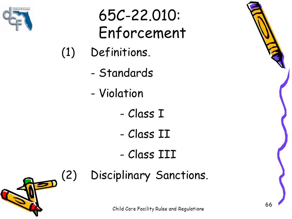65C-22.010: Enforcement (1) Definitions. - Standards - Violation
