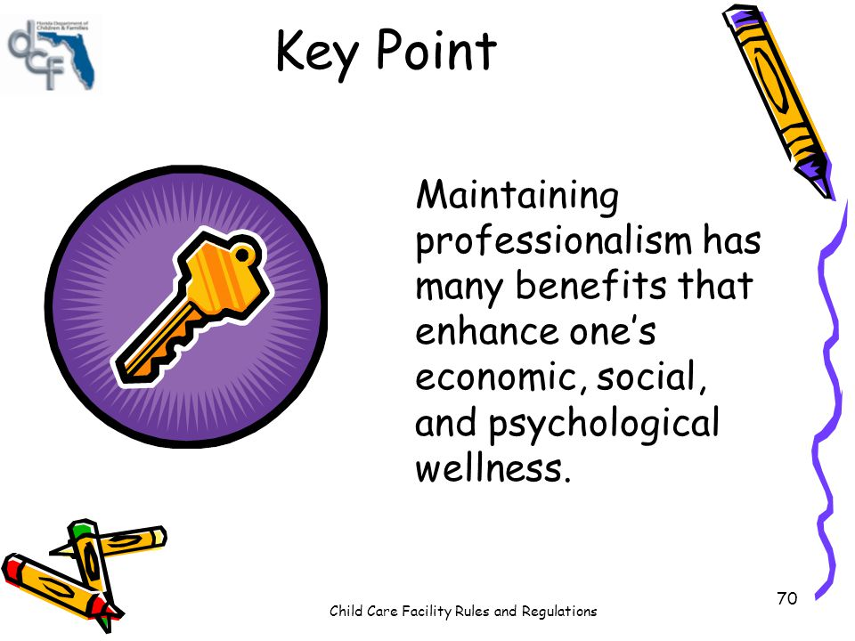 Key Point Maintaining professionalism has many benefits that enhance one's economic, social, and psychological wellness.