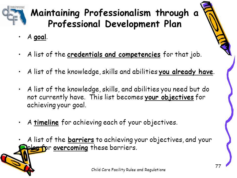 Maintaining Professionalism through a Professional Development Plan