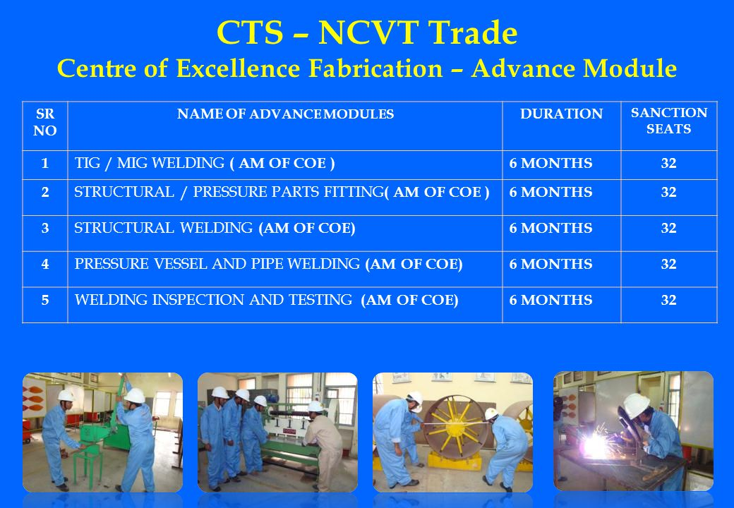 CTS – NCVT Trade Centre of Excellence Fabrication – Advance Module