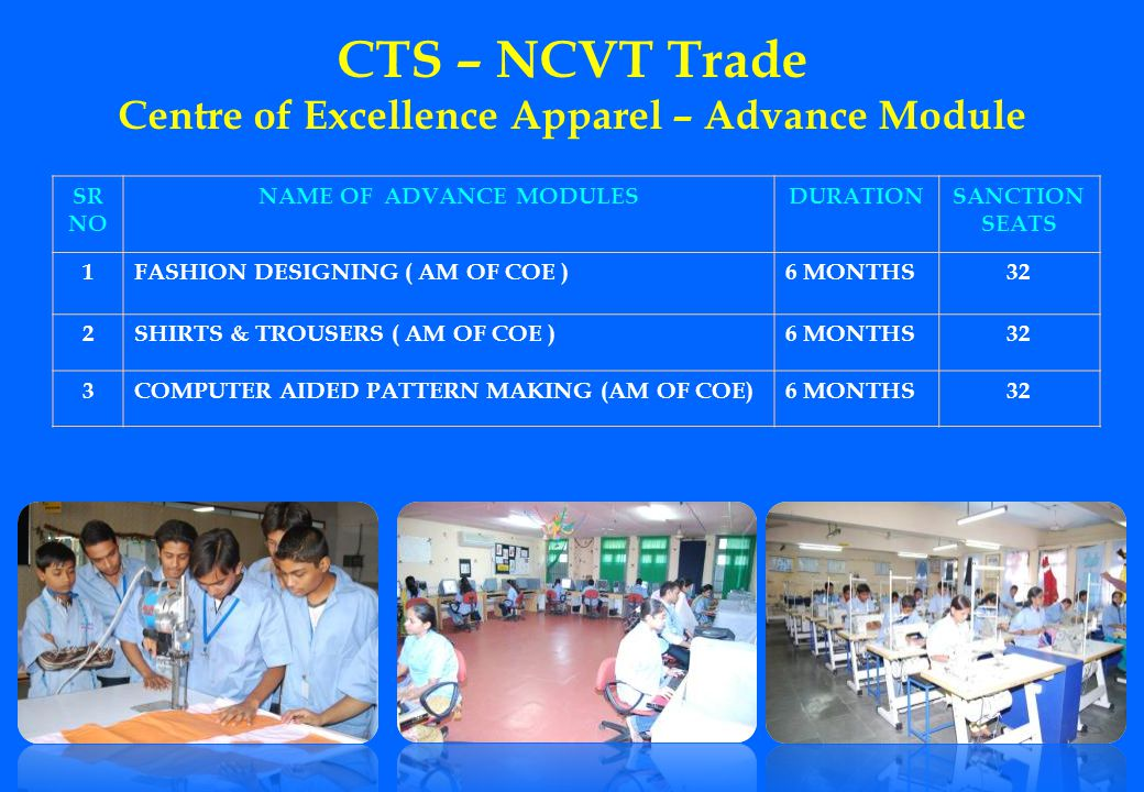 CTS – NCVT Trade Centre of Excellence Apparel – Advance Module