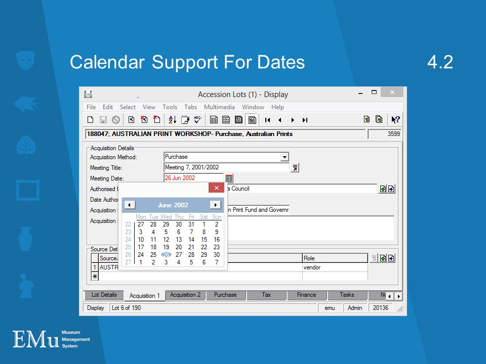 Calendar Support For Dates 4.2