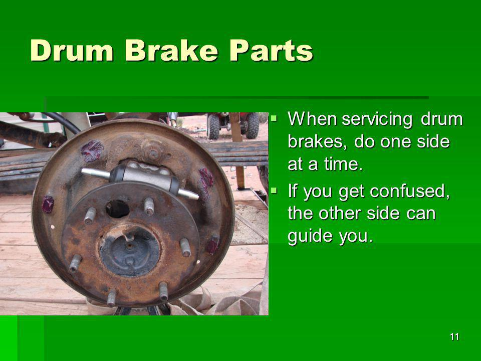Drum Brake Parts When servicing drum brakes, do one side at a time.