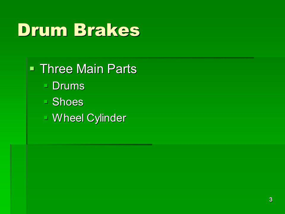 Drum Brakes Three Main Parts Drums Shoes Wheel Cylinder