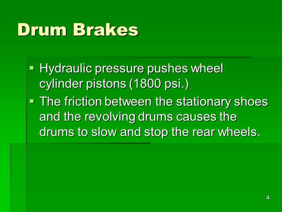 Drum Brakes Hydraulic pressure pushes wheel cylinder pistons (1800 psi.)