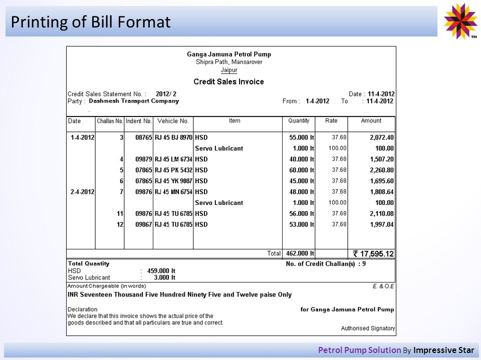 Printing of Bill Format