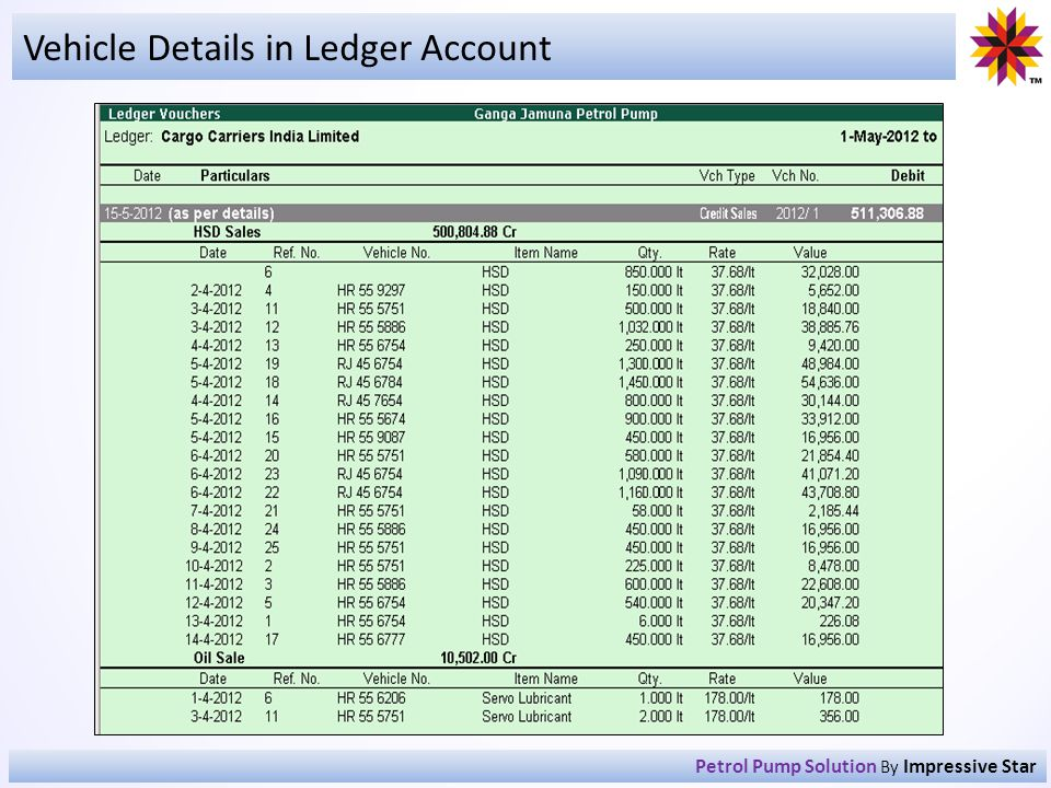Vehicle Details in Ledger Account