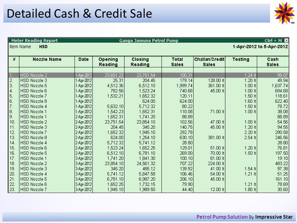 Detailed Cash & Credit Sale