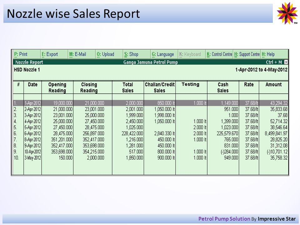 Nozzle wise Sales Report