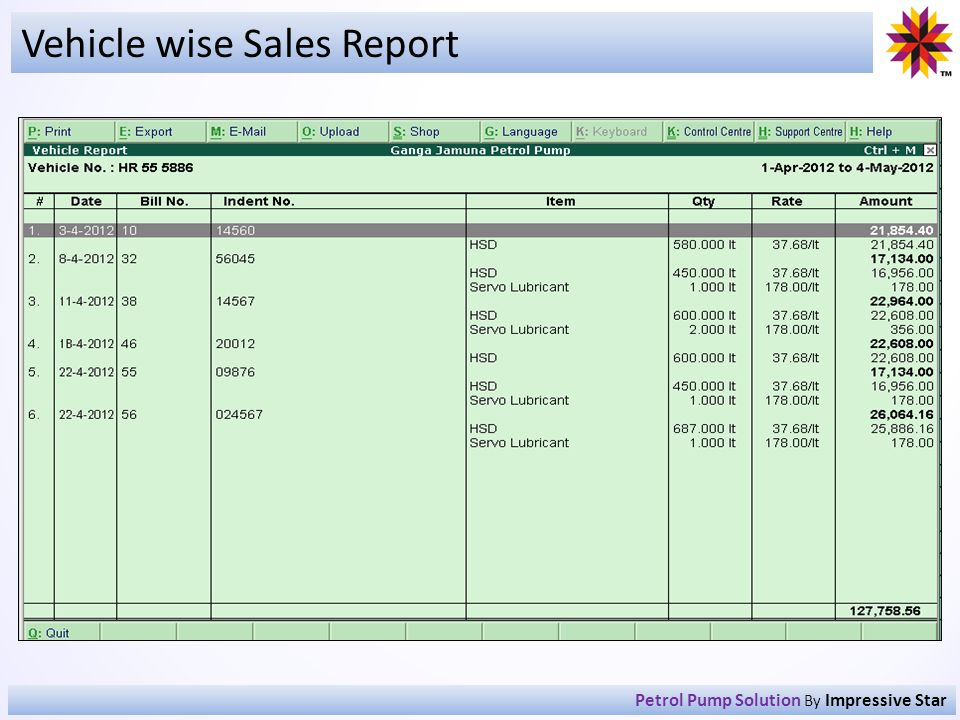 Vehicle wise Sales Report