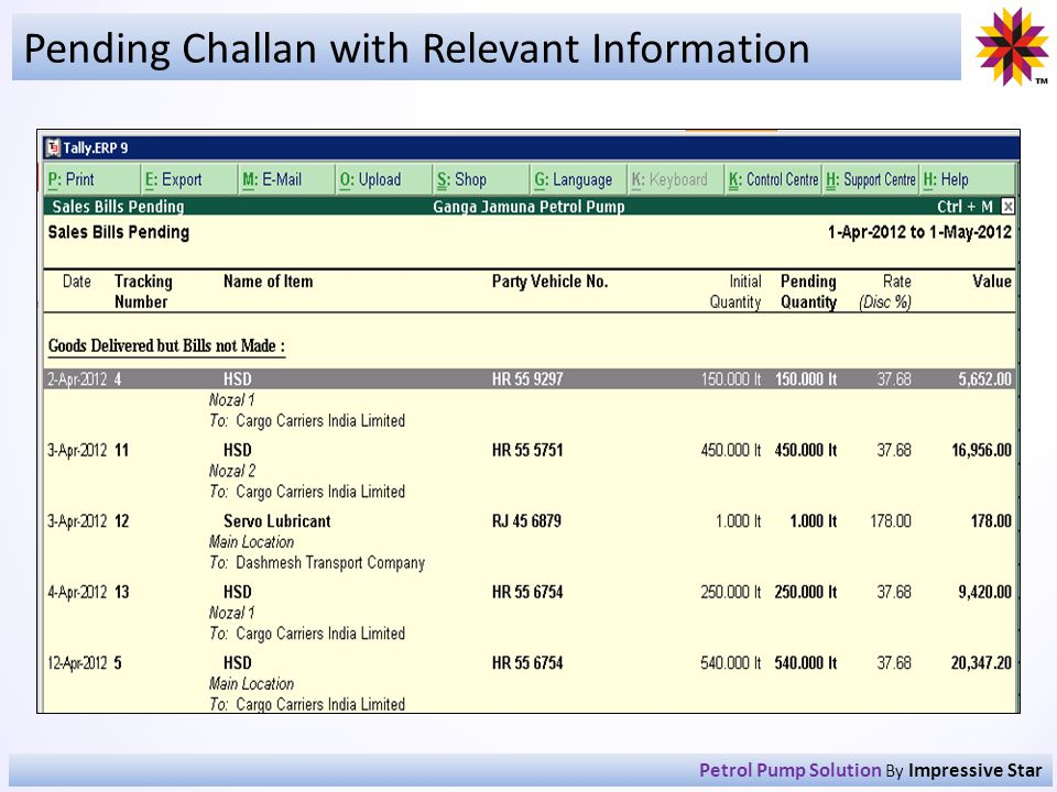 Pending Challan with Relevant Information